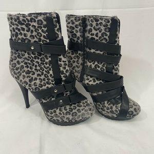 Promise Faux Fur Leopard Stiletto Bootie Size 7.5